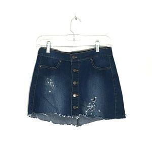 Wax Jean Button Front Distressed Jean Mini Skirt M